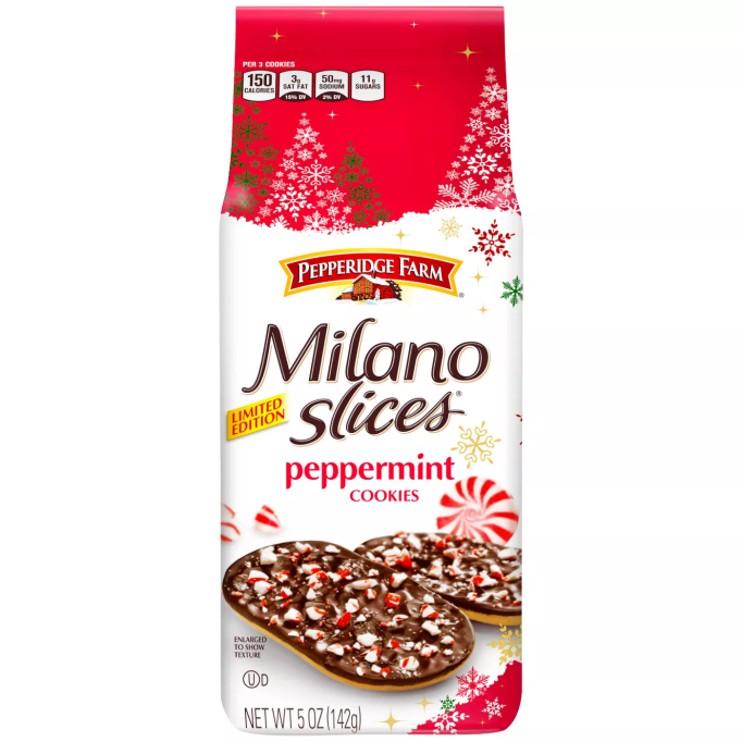 Milano Slices Peppermint Cookies