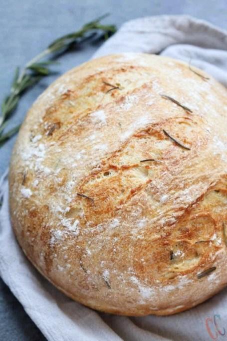 Olive Oil Rosemary No-Knead Bread.