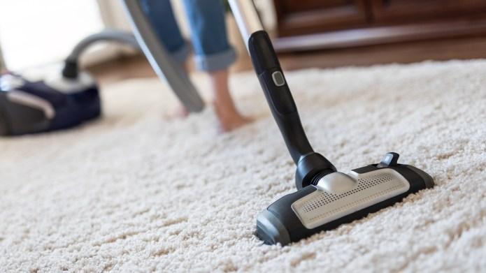 vacuum cleaner - woman vacuuming rug