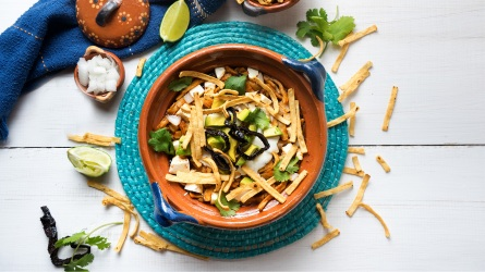 Traditional mexican tortilla soup; Shutterstock ID