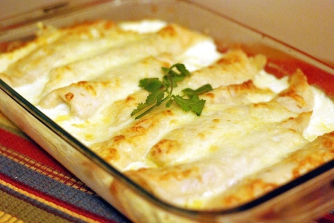 Caramelized Onion & Cream Cheese Turkey Enchiladas.