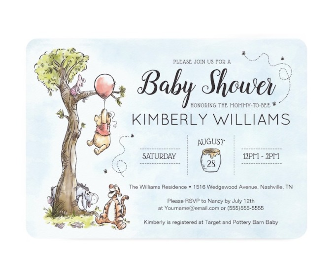 Baby Shower Invitations That Will Delight Every Guest: Pooh & Friends Watercolor