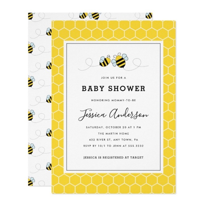 Baby Shower Invitations That Will Delight Every Guest: Bumble Bee