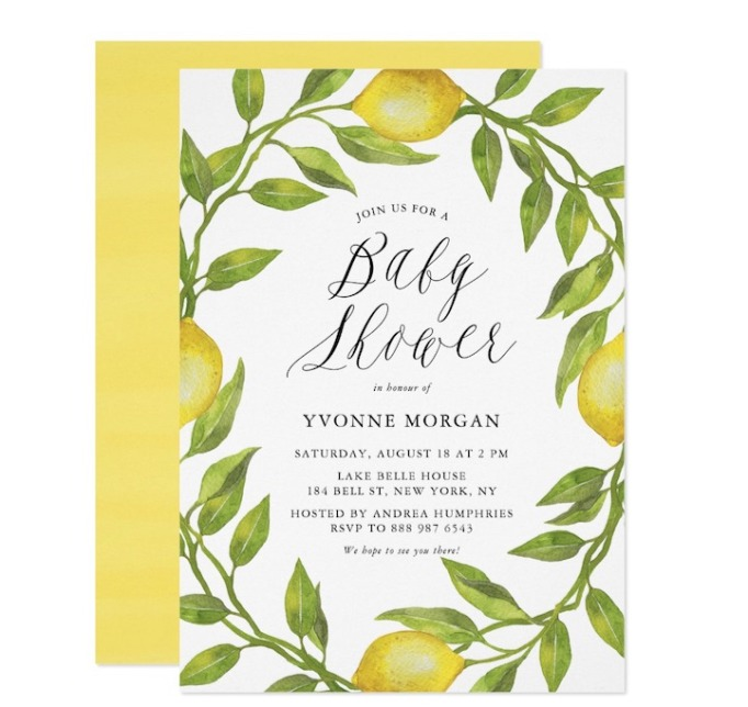 Baby Shower Invitations That Will Delight Every Guest: Watercolor Lemon