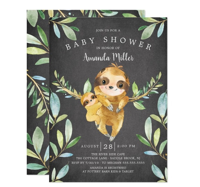 Baby Shower Invitations That Will Delight Every Guest: Chalkboard Sloth