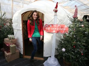 Catherine Duchess of Cambridge exits the 'Elf workshop' during a visit to Peterley Manor Farm in Buckinghamshire, where she will take part in Christmas activities with families and children who are supported by the Family Action charityCatherine Duchess of Cambridge marks new patronage of Family Action, Peterley Manor Farm, Great Missenden, Buckinghamshire, UK - 04 Dec 2019