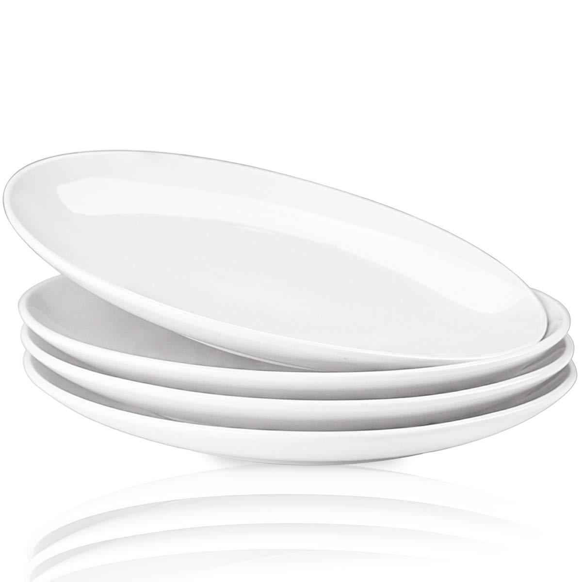 Delling 10'' Perdurable Porcelain Dinner Plates, Natural White Dinnerware Dish Set of 4