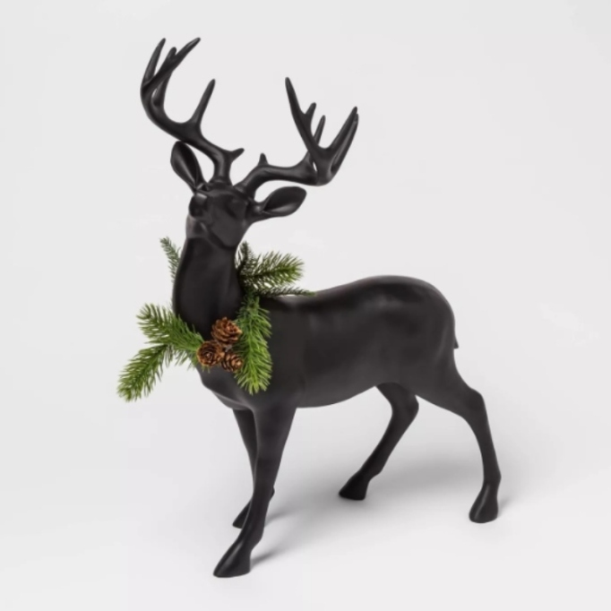 Resin Standing Deer Figurine with Wreath — Threshold.