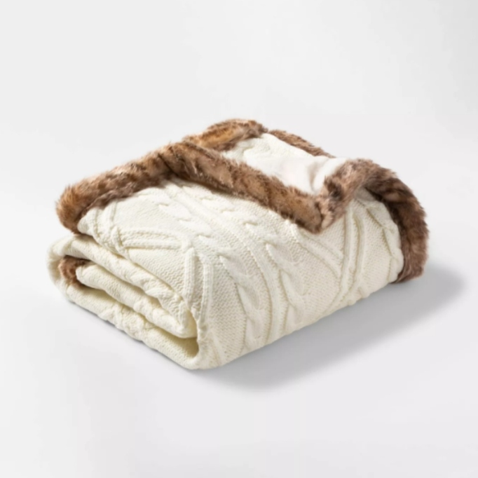 Cable Knit Throw Blanket with Mink Faux Fur Reverse & Faux Fur Trim — Threshold.