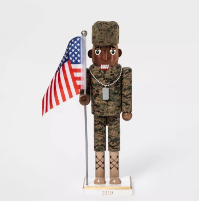 American Soldier Nutcracker with Flag — Wondershop.