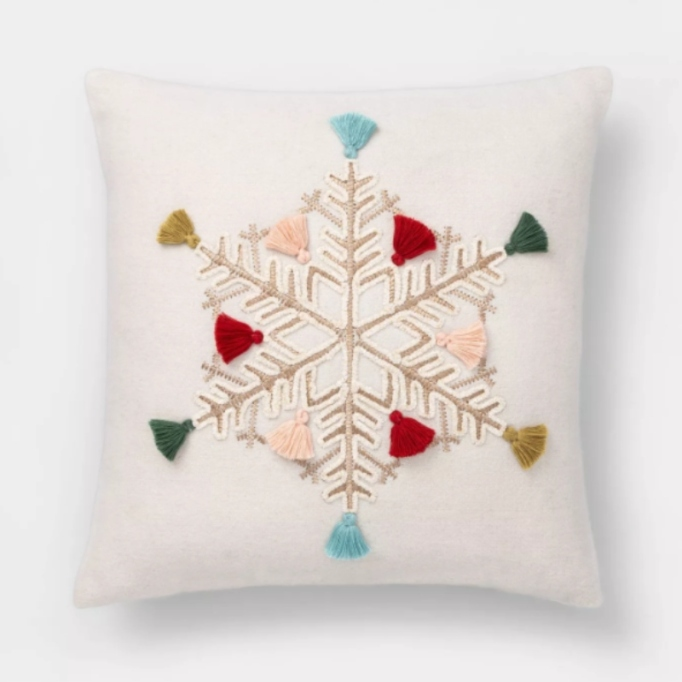 Embroidered Snowflake Square Throw Pillow with Fringe — Opalhouse.