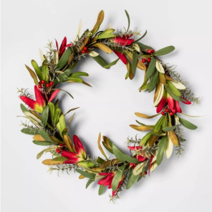 """20"""" Artificial Protea Wreath with Berries — Opalhouse."""