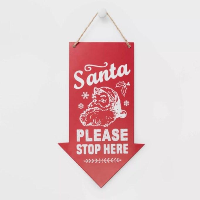 Santa Please Stop Here Arrow Sign — Workshop.