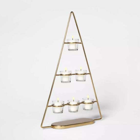 Metal Christmas Tree Tealight Candle Holder — Threshold.