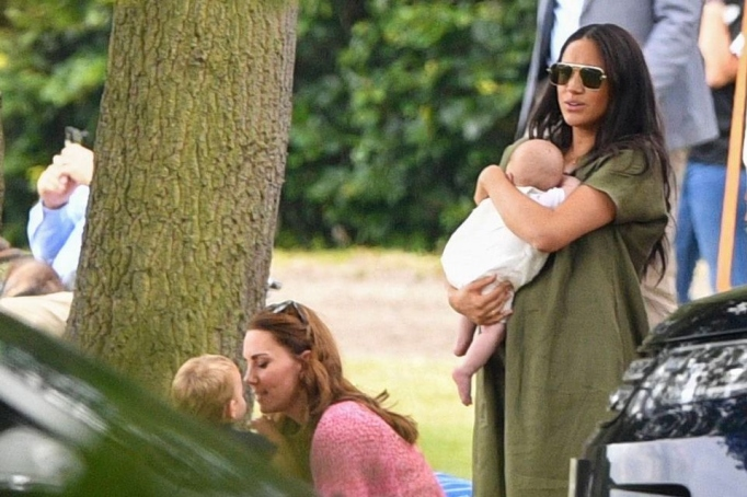 Kate Middleton and Meghan Markle with kids.