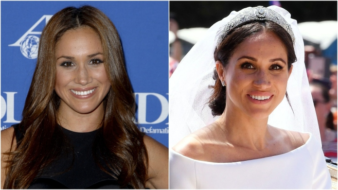 Meghan Markle, then and now.