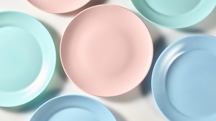 Colorful pastel dinner plates