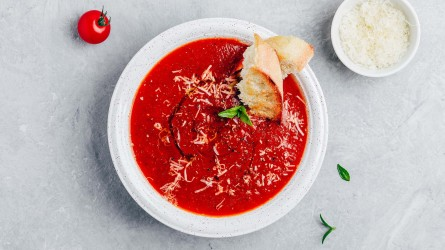 Tomato basil soup with parmesan cheese