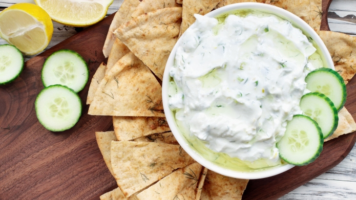 Traditional Greek Tzatziki dip sauce made