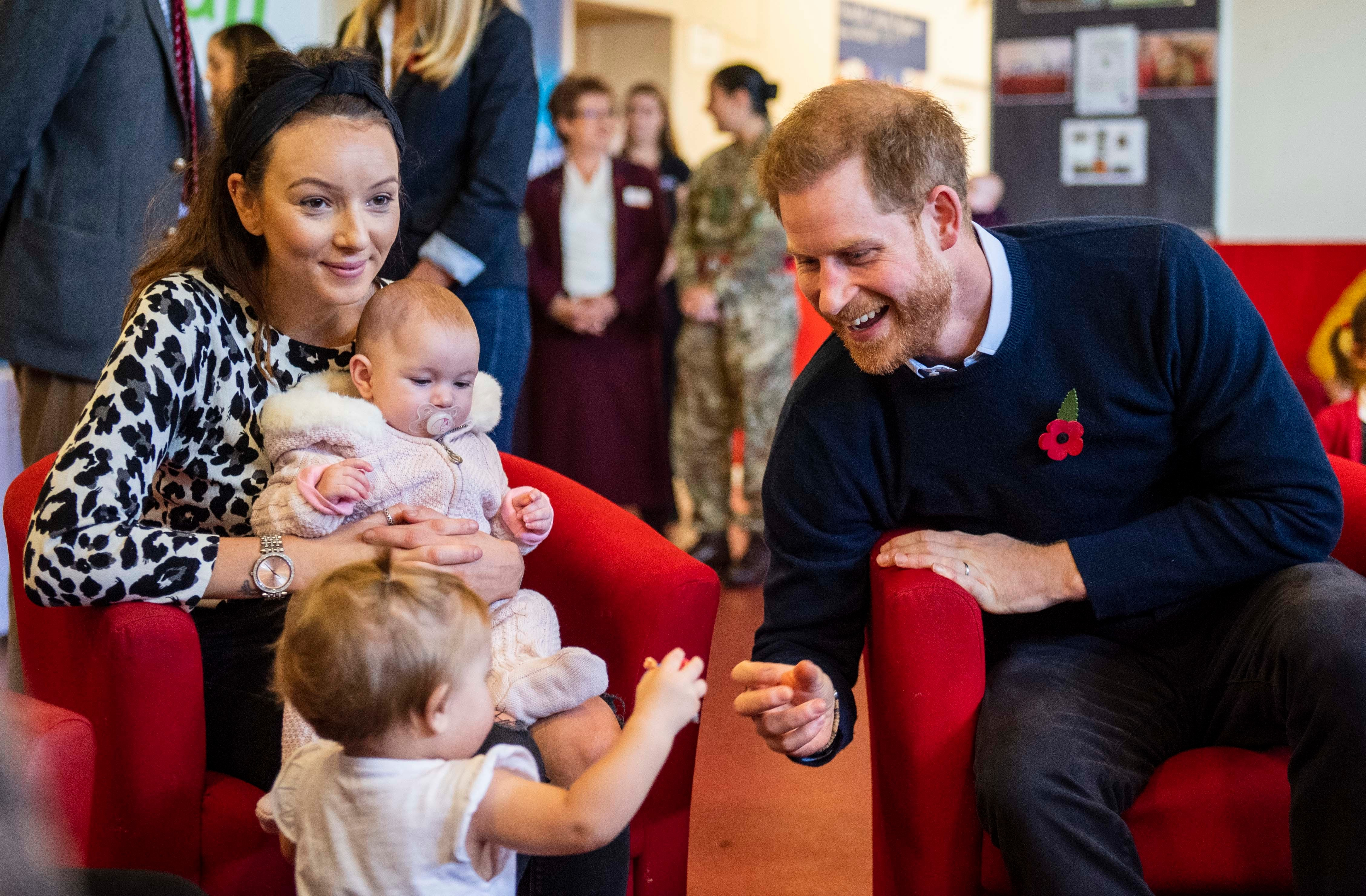 Editorial use only. Images only to be used in context of eventMandatory Credit: Photo by Sgt Paul Randall/MoD/Shutterstock (10468381g) Prince Harry speaking to members of the families of serving soldiers, during a visit to Broom Farm Community Centre in Windsor. Prince Harry and Meghan Duchess of Sussex visit Broom Farm Community Centre, Windsor, UK - 06 Nov 2019 NOTE TO EDITORS: This handout photo may only be used in for editorial reporting purposes for the contemporaneous illustration of events, things or the people in the image or facts mentioned in the caption. Reuse of the picture may require further permission from the copyright holder.