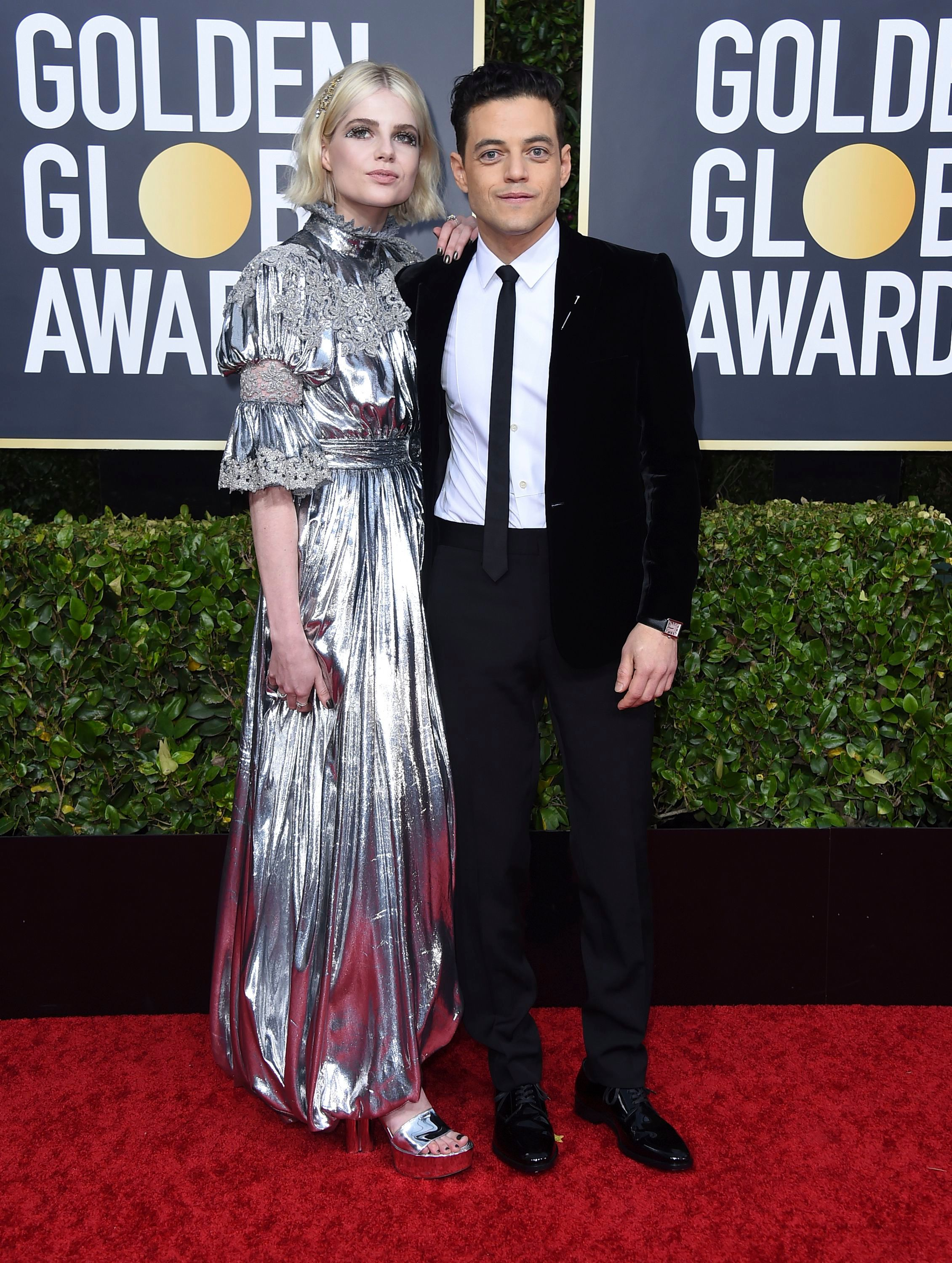 Lucy Boynton, Rami Malek. Lucy Boynton, left, and Rami Malek arrive at the 77th annual Golden Globe Awards at the Beverly Hilton Hotel, in Beverly Hills, Calif77th Annual Golden Globe Awards - Arrivals, Beverly Hills, USA - 05 Jan 2020