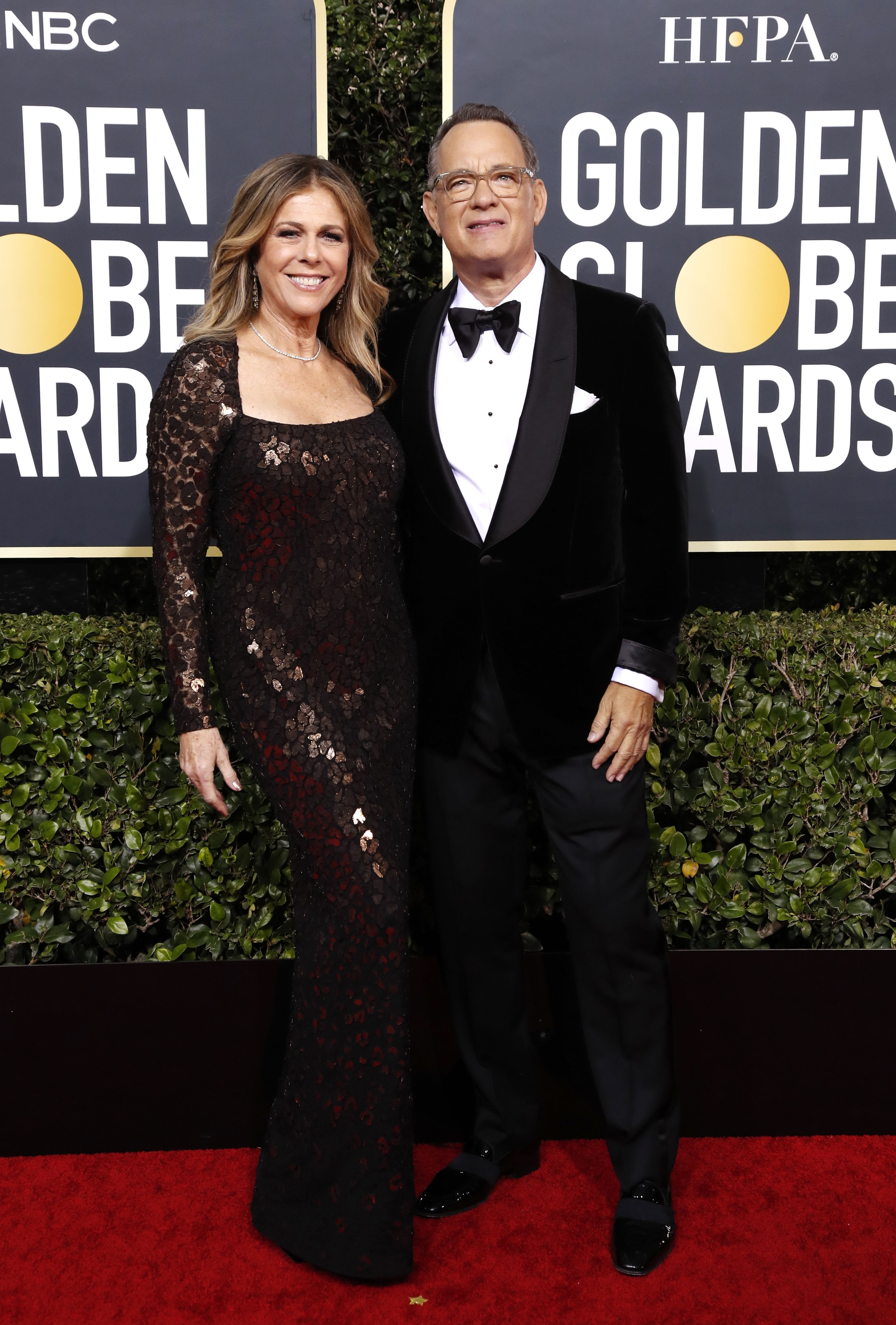 Rita Wilson (L) and Tom Hanks arrive for the 77th annual Golden Globe Awards ceremony at the Beverly Hilton Hotel, in Beverly Hills, California, USA, 05 January 2020.Arrivals - 77th Golden Globe Awards, Beverly Hills, USA - 05 Jan 2020