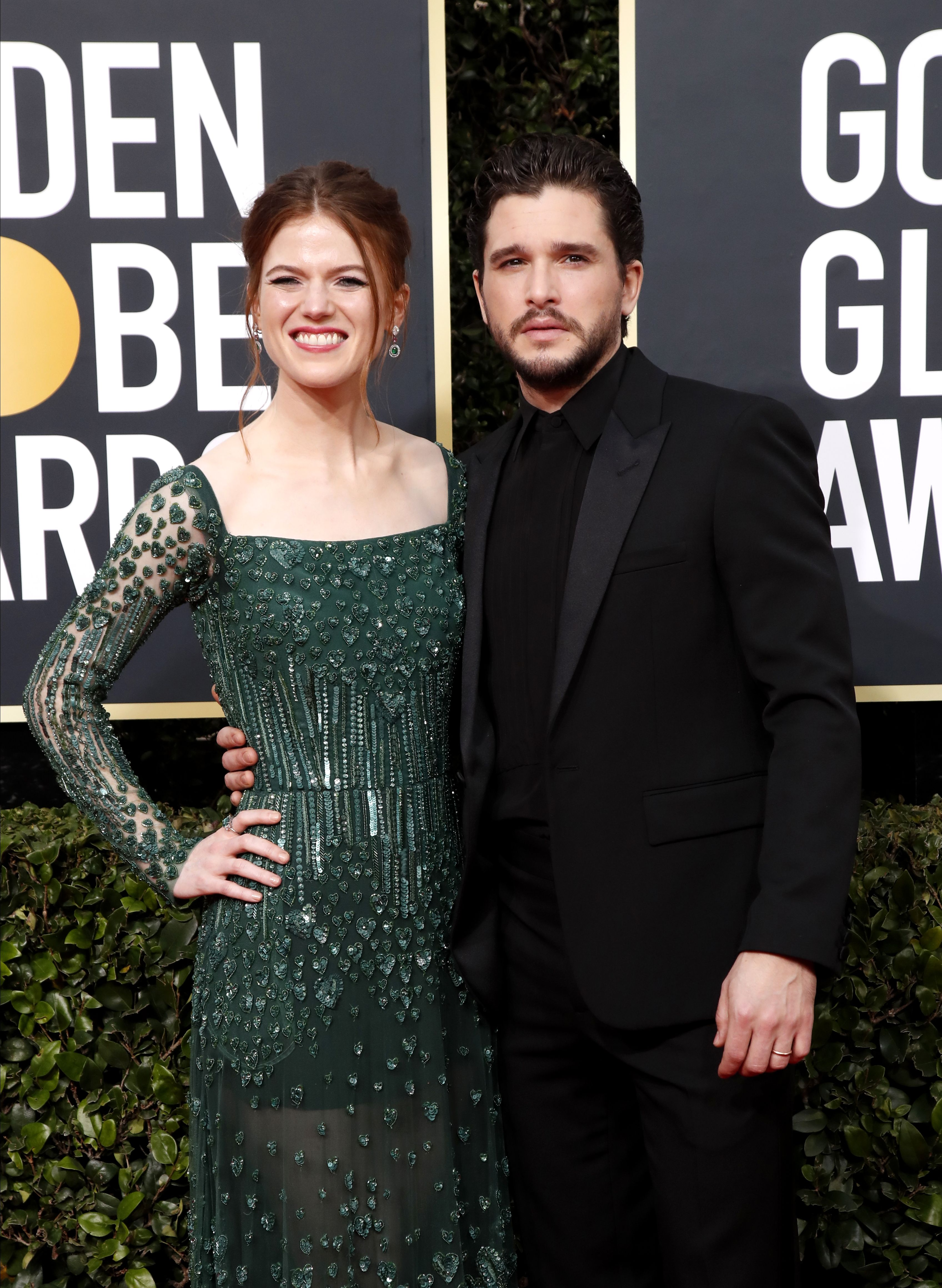 Rose Leslie (L) and Kit Harington arrive for the 77th annual Golden Globe Awards ceremony at the Beverly Hilton Hotel, in Beverly Hills, California, USA, 05 January 2020.Arrivals - 77th Golden Globe Awards, Beverly Hills, USA - 05 Jan 2020