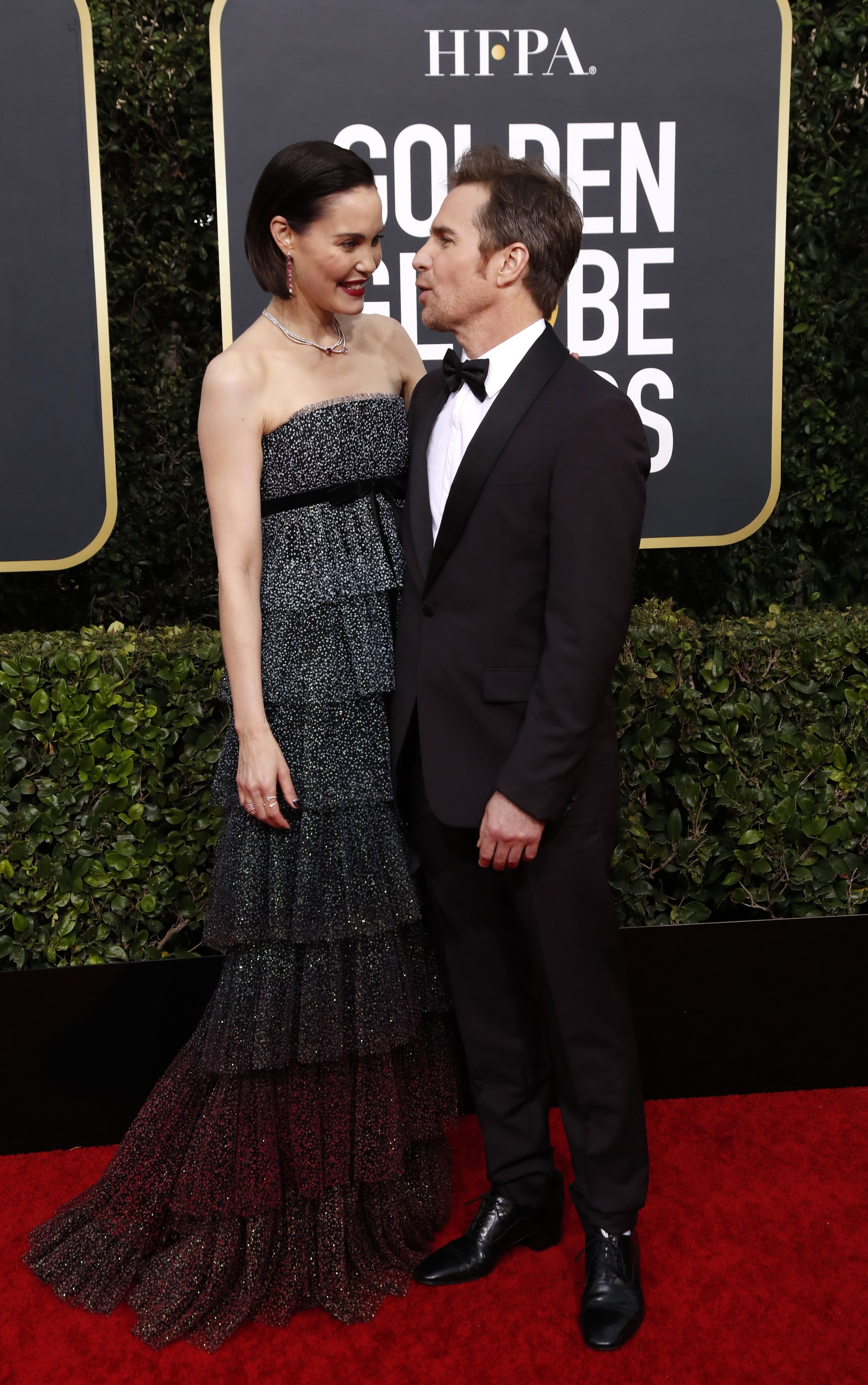 Leslie Bibb (L) and Sam Rockwell arrive for the 77th annual Golden Globe Awards ceremony at the Beverly Hilton Hotel, in Beverly Hills, California, USA, 05 January 2020.Arrivals - 77th Golden Globe Awards, Beverly Hills, USA - 05 Jan 2020