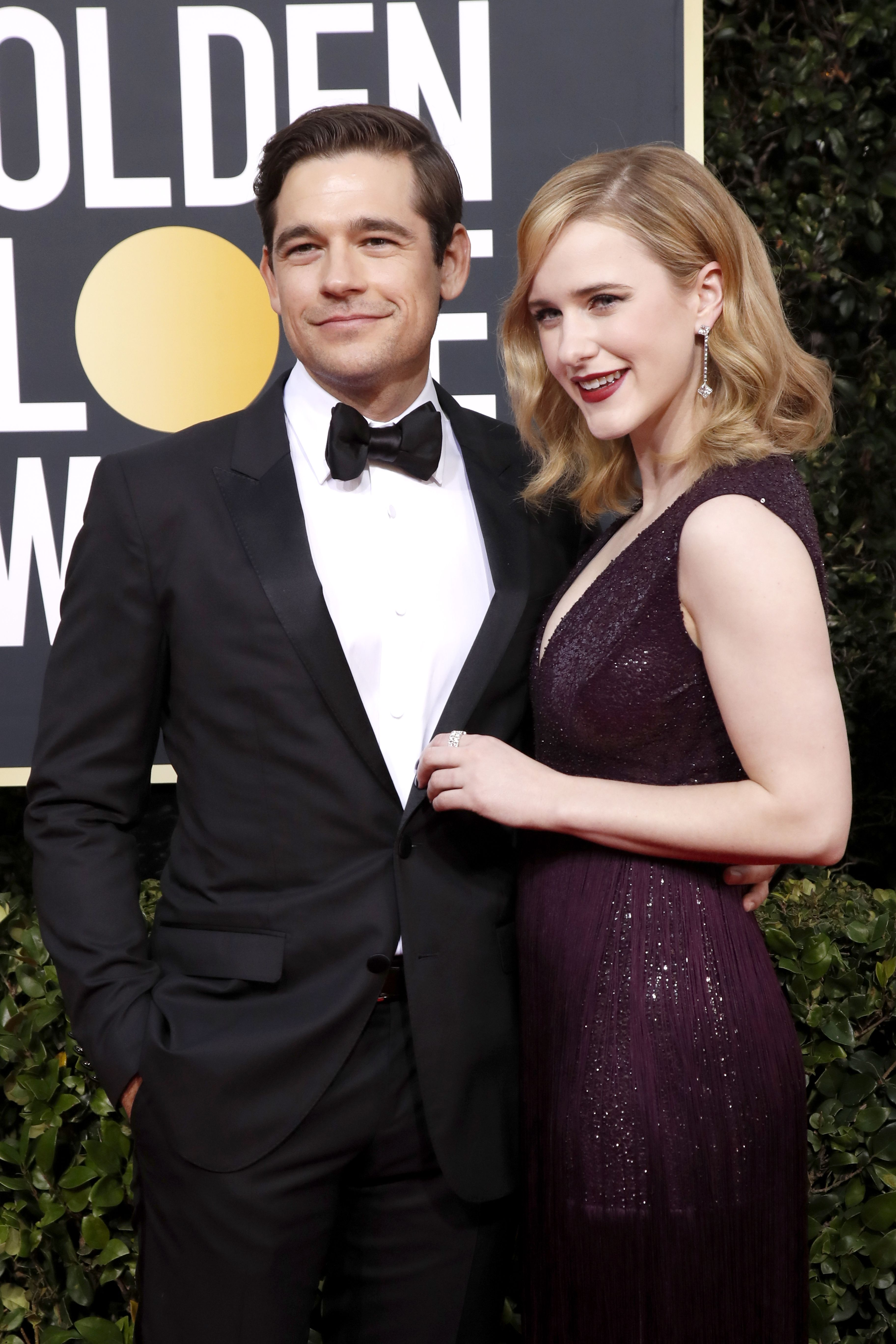 Rachel Brosnahan and Jason Ralph arrive for the 77th annual Golden Globe Awards ceremony at the Beverly Hilton Hotel, in Beverly Hills, California, USA, 05 January 2020.Arrivals - 77th Golden Globe Awards, Beverly Hills, USA - 05 Jan 2020