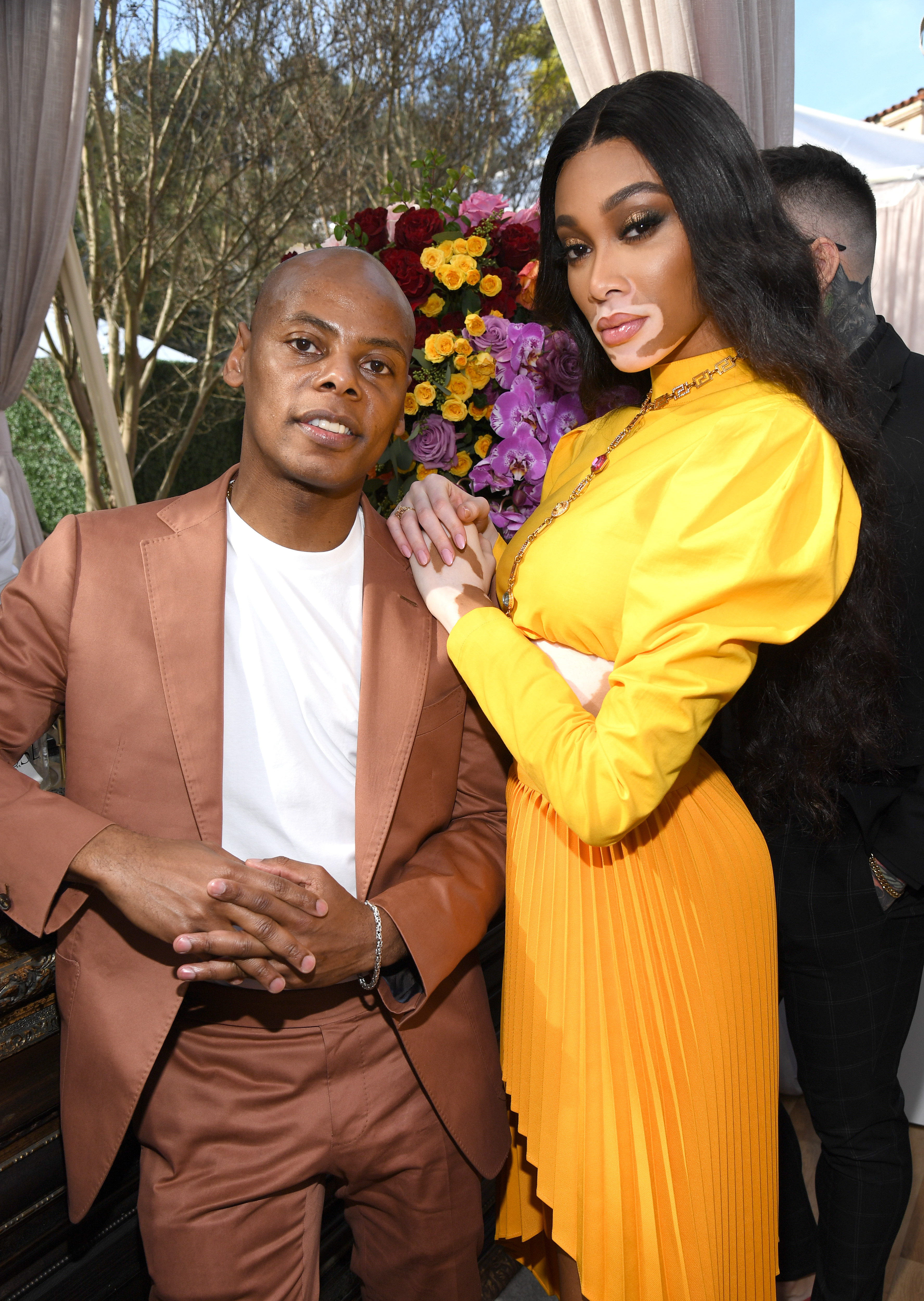 LOS ANGELES, CALIFORNIA - JANUARY 25: Tyran 'Tata' Smith and Winnie Harlow attend 2020 Roc Nation THE BRUNCH on January 25, 2020 in Los Angeles, California. (Photo by Kevin Mazur/Getty Images for Roc Nation)
