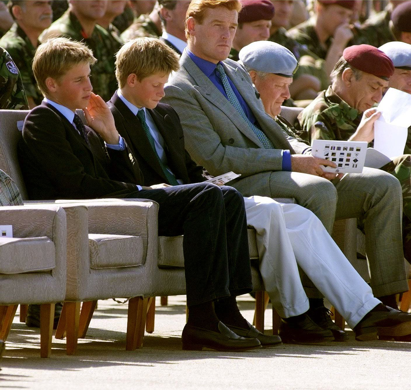 Prince Harry and Prince William with Mark Dyer1999 British Prince Charles attending air assault display at Wattisham RAF Base airbase military airforce in Suffolk