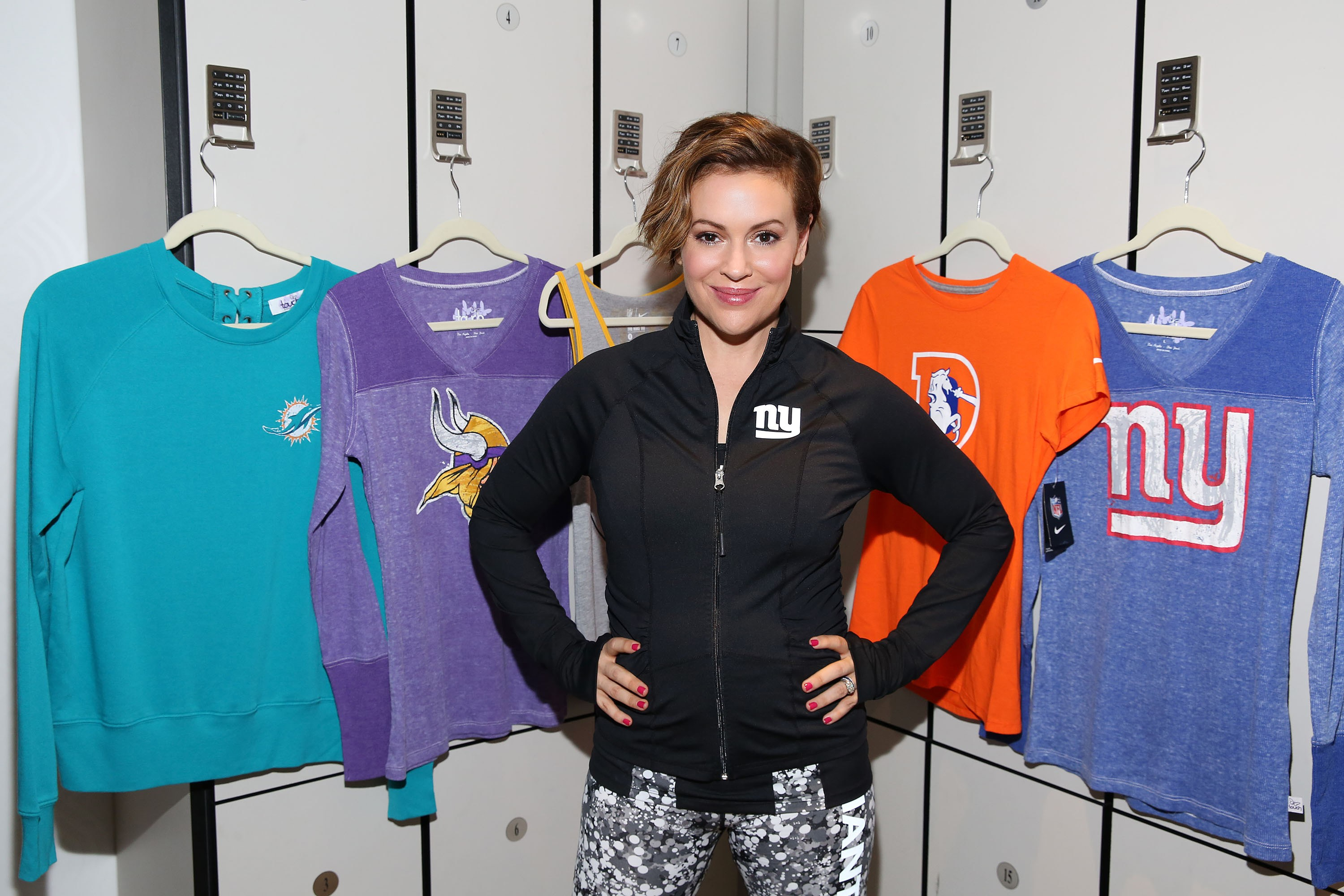 Alyssa Milano with her GIII Touch NFL Women's Collection showcasing apparel for a healthy and active lifestyle on in New YorkNFL Women's Apparel Event, New York, USA - 15 Sep 2016