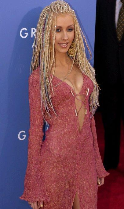 Christina Aguilera 2001 Grammys red carpet