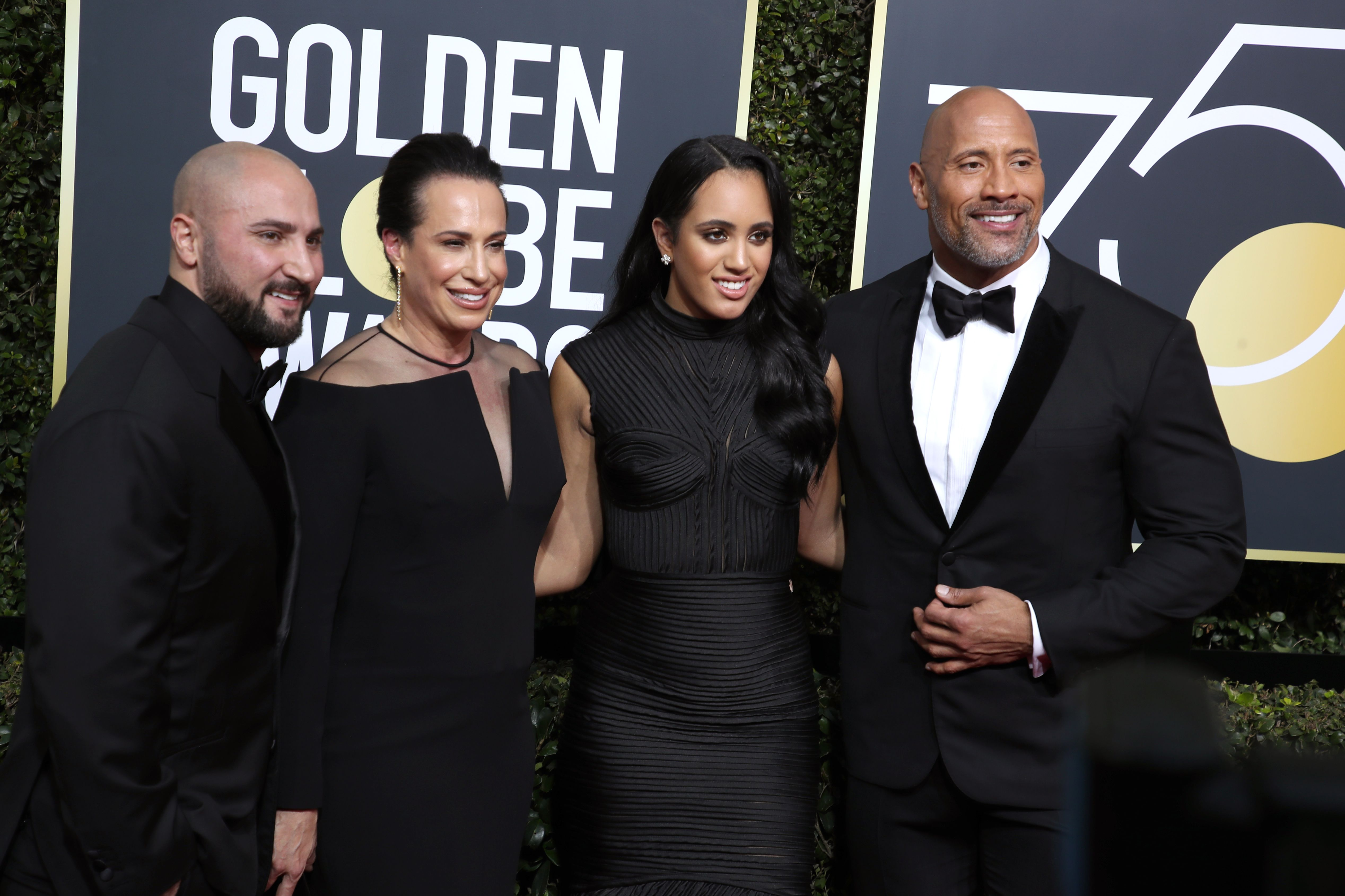 Dave Rienzi, Dany Garcia, Simone Garcia Johnson and Dwayne Johnson75th Annual Golden Globe Awards, Arrivals, Los Angeles, USA - 07 Jan 2018