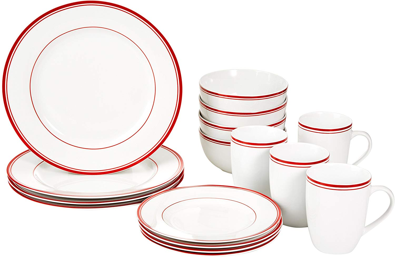 AmazonBasics Cafe Stripe Dinnerware Set