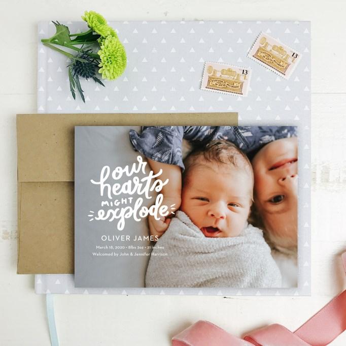 Cute Birth Announcements Basic Invite Exploding Love