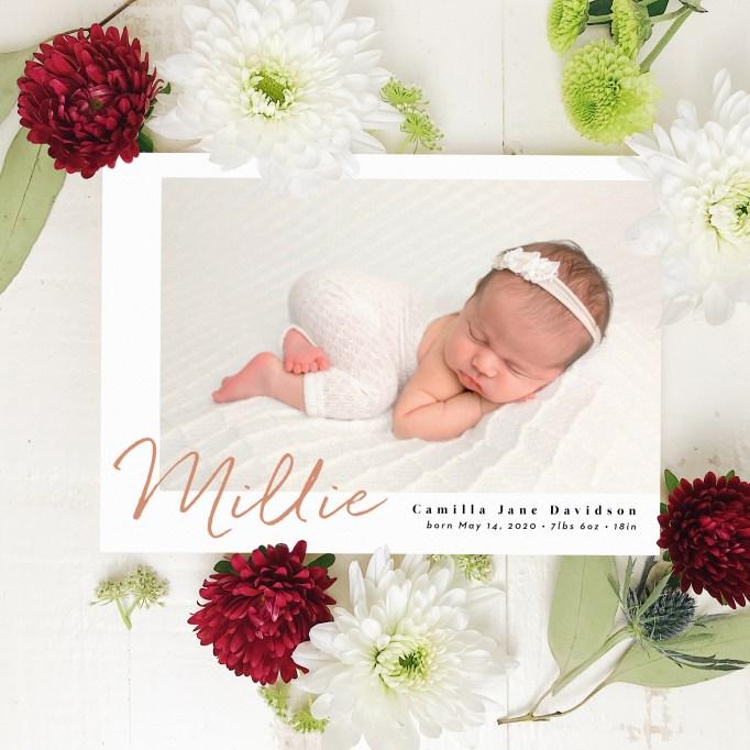 Cute Birth Announcement Basic Invite Sweet Signature Foil
