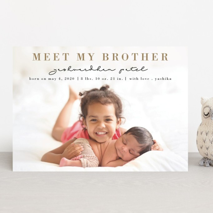 Cute Birth Announcements Minted Meet My Brother