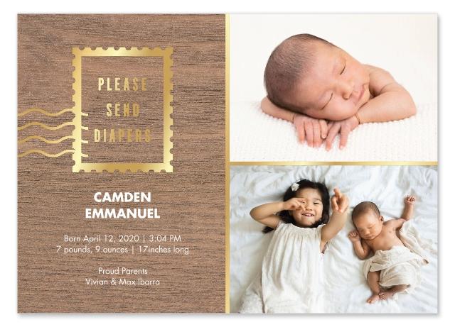 Cute Birth Announcement Snapfish Please Send Diapers