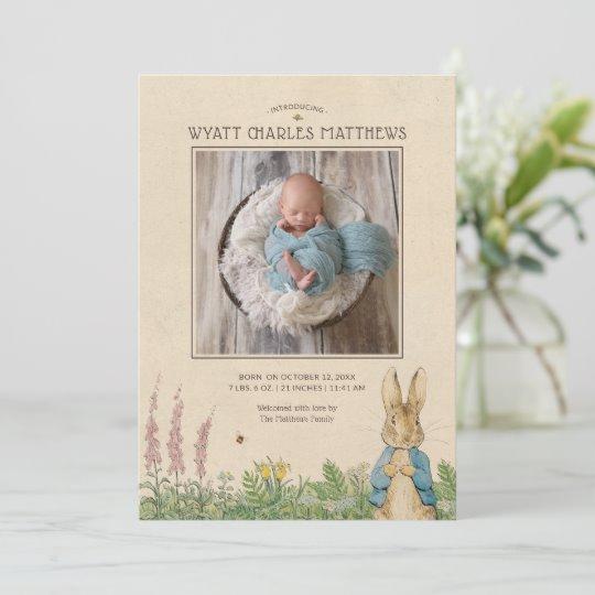 Cute Birth Announcement Zazzle Peter Rabbit