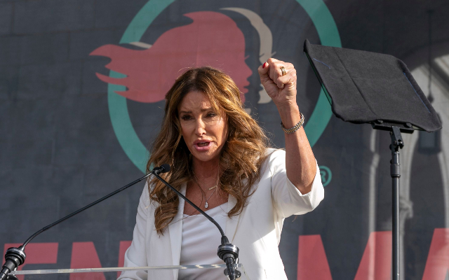 Transgender rights activist Caitlyn Jenner speaks at the 4th Women's March in Los Angeles