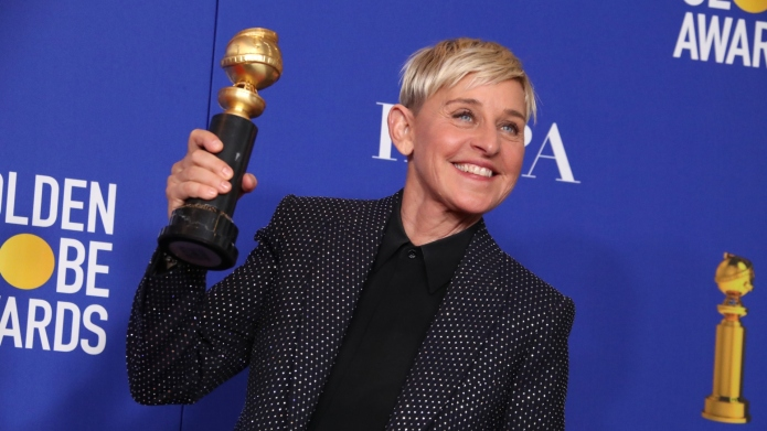 Ellen DeGeneres holding the Carol Burnett