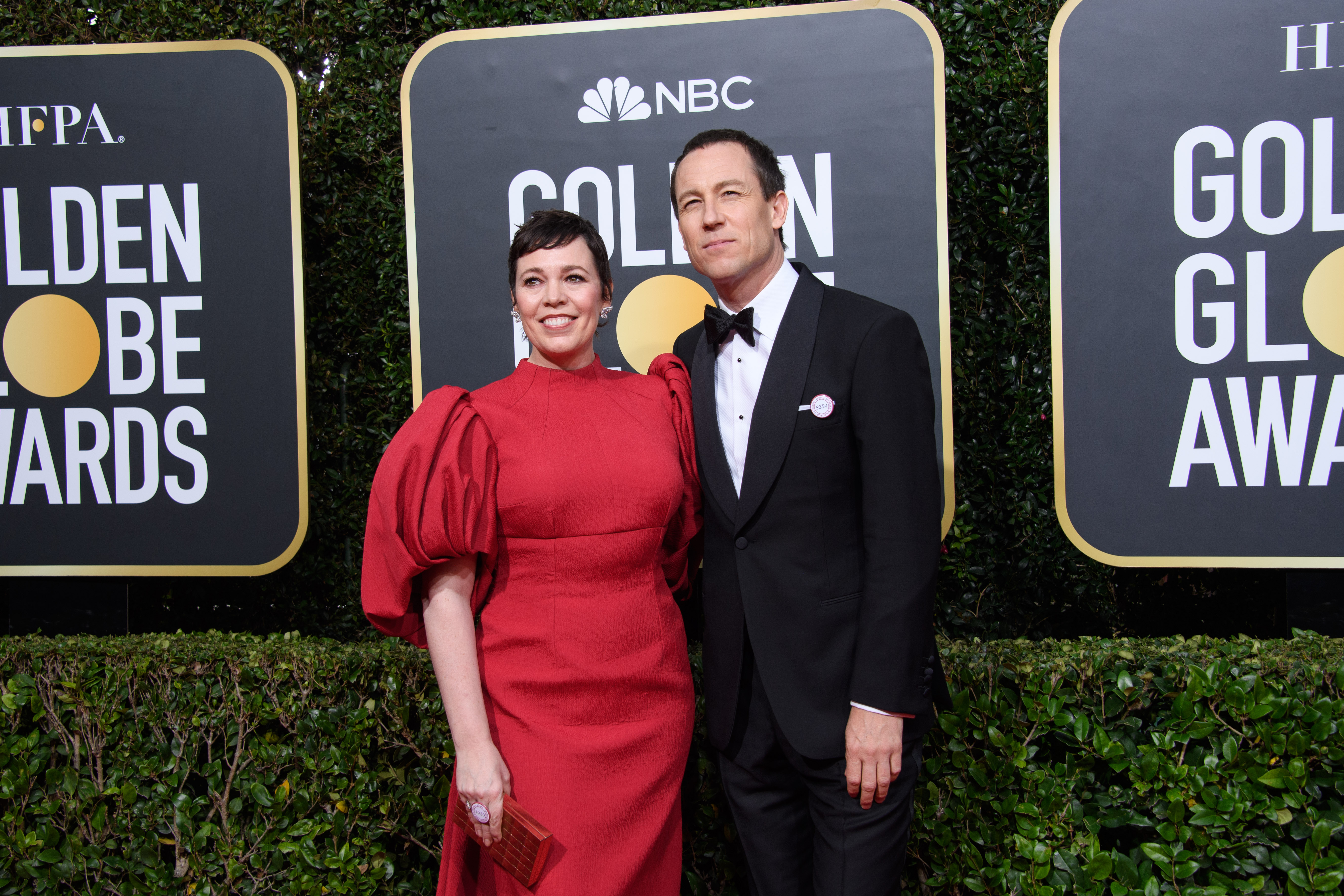 Nominees Olivia Colman and Tobias Menzies arrive at the 77th Annual Golden Globe Awards at the Beverly Hilton in Beverly Hills, CA on Sunday, January 5, 2020.