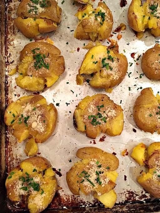 Parmesan & chive smashed potatoes