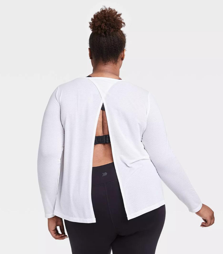 Women's Plus Size Long Sleeve Open Back T-Shirt - All in Motion