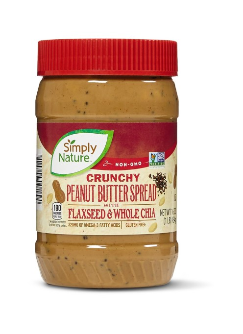 Simply Nature Crunchy Peanut Butter Spread with Flaxseed and Chia