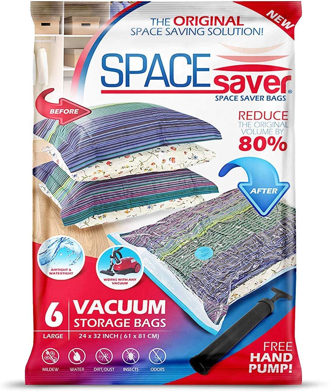 Spacesaver Premium Reusable Vacuum Storage Bags with Hand Pump