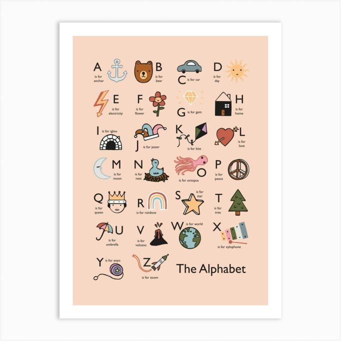 Nursery Artwork That's One-of-a-Kind — & Affordable: Alphabet In Pink Art Print by Kid of the Village