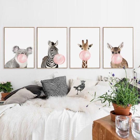 Nursery Artwork That's One-of-a-Kind — & Affordable: Animals Bubble Gum