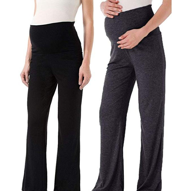 Ecavus Womens Maternity Pants Stretchy Comfy Over The Belly Lounge Pants Loose Sweatpants with Pockets